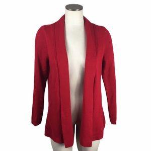 Kim Rogers Red Open Front Sweater Cardigan Medium